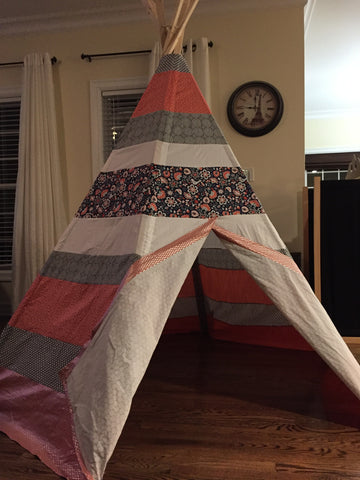 Deluxe Navy and Coral Birds Teepee - Apryle's House