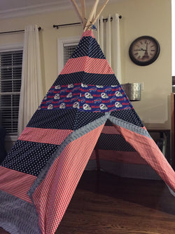 Deluxe Teepee made from Buffalo Bills Licensed Fabric - Apryle's House