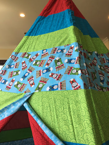 Deluxe Teepee made from Thomas the Train Licensed Fabric