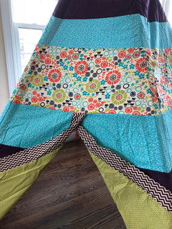 Deluxe Plum, Purple, Aqua Blue and Green Flower Print Teepee