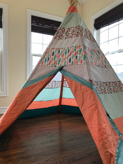 Deluxe Feathers Orange and Turquoise Teepee