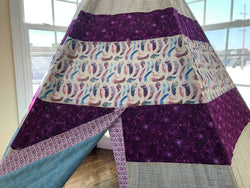 Deluxe Purple Feathers Nature with Blue and Tan Teepee