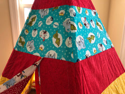 Classic Red Yellow Turquoise Teepee with Dr Seuss and Cat in the Hat Licensed Fabric