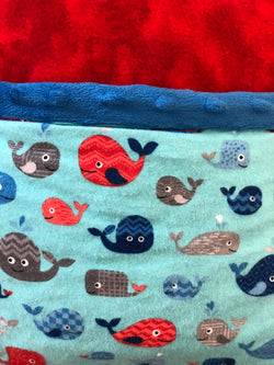 Reading Pocket Pillow Nautical Whales Ocean Blue Red