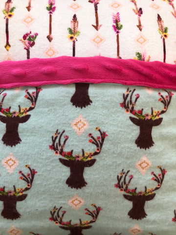 Reading Pocket Pillow Deer Pink Flowers Antlers Woodland Arrows