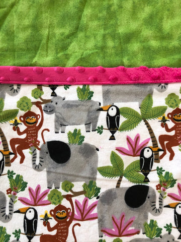Reading Pocket Pillow Jungle Elephants Monkeys Pink Green