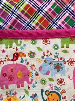 Reading Pocket Pillow Bright Jungle Elephants Hippos Monkeys Lions