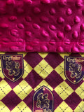 Red and Yellow Blanket and Nap Mat Set with Gryffindor Crest Harry Potter Licensed Fabric