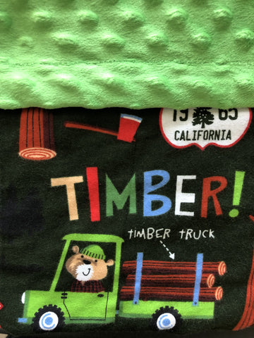 Timber Lumberjack Truck Blanket and Nap Mat Set