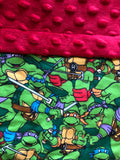 Red and Green Blanket and Nap Mat Set with Classic Ninja Turtles TMNT Licensed Fabric