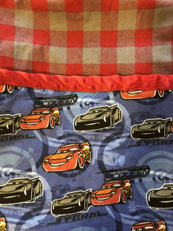 Reading Pocket Pillow Red Grey Plaid with Cars Lightning McQueen Jackson Storm Licensed Fabric