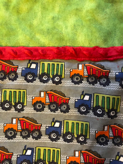 Reading Pocket Pillow Construction Site Diggers Trucks Red Green Grey