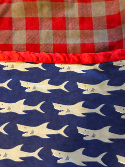 Reading Pocket Pillow Nautical Sharks Blue Red Grey Plaid