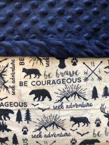 Adventure Woodland Be Courageous Be Brave Navy Blue Blanket and Nap Mat Set