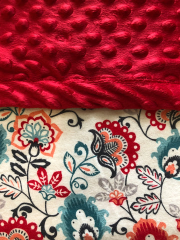 Red Floral Blanket and Nap Mat Set