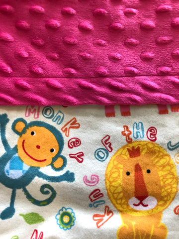 Bright Jungle Animals Lion Elephant Monkey Hippo Pink Minky Blanket and Nap Mat Set