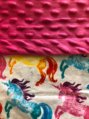 Unicorns Pink Aqua Yellow with Stars Blanket and Nap Mat Set
