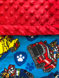 Blue Yellow Red Blanket and Nap Mat Set with Paw Patrol Marshall Chase Rubble Licensed Fabric