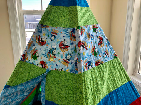 Classic Green Blue Red Teepee with Thomas the Train Licensed Fabric