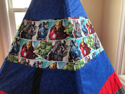 Classic Teepee made from Avenger Marvel White Background Superhero Hulk Ironman Captain America Thor Licensed Fabric