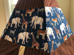 Classic Zoo Safari Animal Elephant Giraffe Tiger Zebra Navy Blue Gold Teepee