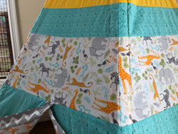 Deluxe Safari Giraffe Elephant Zebra Toucan Yellow Teal Gray Teepee