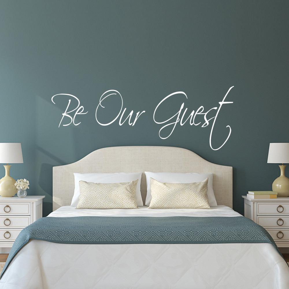 Be our guest wall decal guest room quote happy walls for Decorating spare bedroom ideas