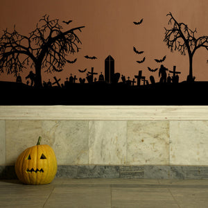 halloween graveyard cemetery tombstones and bats scary wall decal