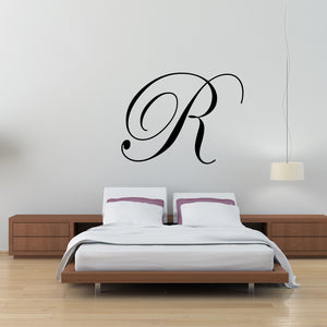 Monogram Single Letter Initial Fancy Cursive Wall Decal Part 50