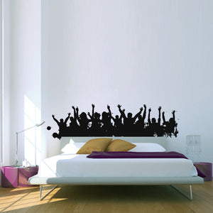 Cheering Crowd People Silhouette Wall Decal Part 36