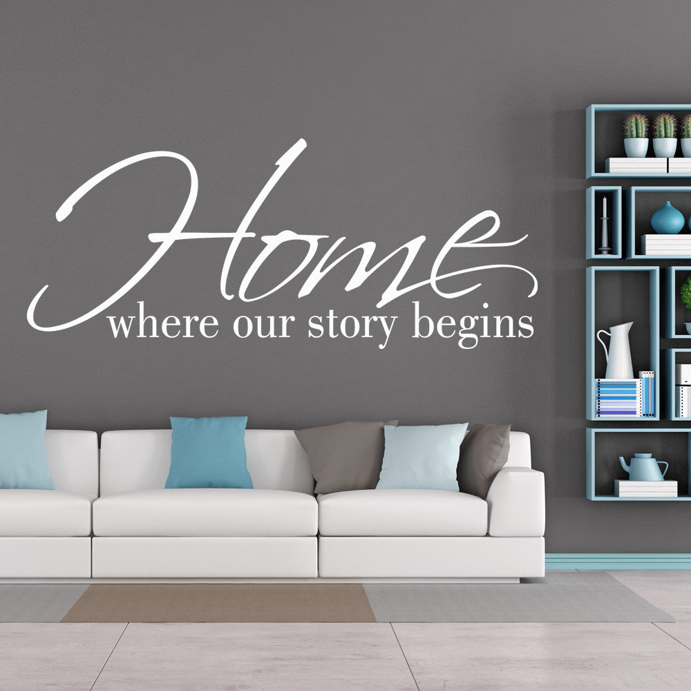 home where our story begins family wall decal quote happy walls home where our story begins family wall decal quote