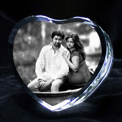 laser engraved personalized heart shaped 3d crystal