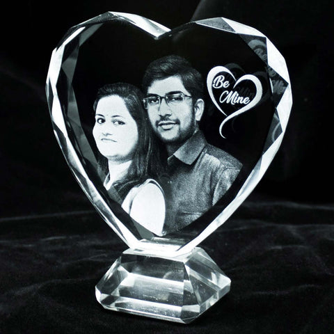 Personalized laser engraved heart shaped crystal