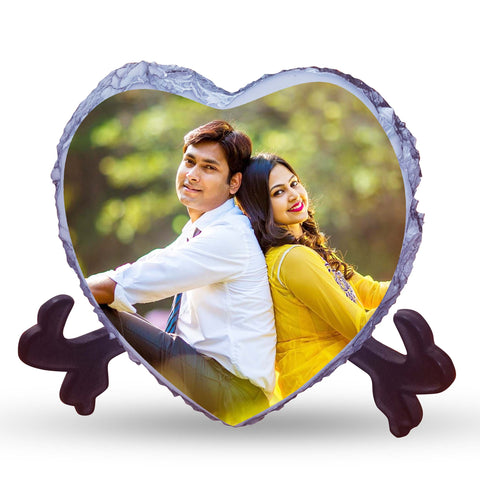 personalized stone heart shaped color photo frame