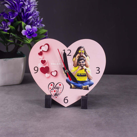 personalized wooden heart clock frame