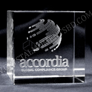 3d laser engraved crystal cube paperweight | Crystal Moments