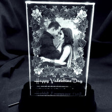 Load image into Gallery viewer, Personalized 3d Laser Engraved Crystal Photo Frame with LED Base - Crystal Moments