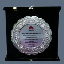 Load image into Gallery viewer, Silver Plated Box Folding Custom Wooden Plaque - Crystal Moments