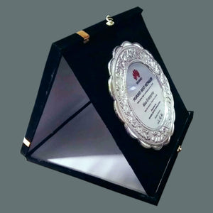 Silver Plated Box Folding Custom Wooden Plaque - Crystal Moments