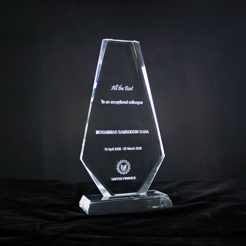 Laser Engraved Customized Crystal Award upper cut Glass Plaque