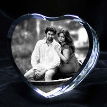 Load image into Gallery viewer, Personalized Heart Shape 3d Photo Crystal - Crystal Moments