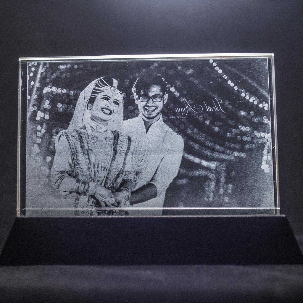 3d Laser Engraved Crystal Photo Frame with LED Base | Crystal Moments