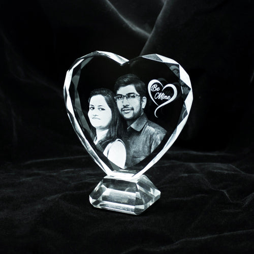 Heart Shape 2d Photo Crystal with Base - Crystal Moments