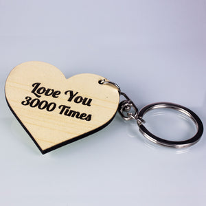 Personalized Wooden Heart Key Ring