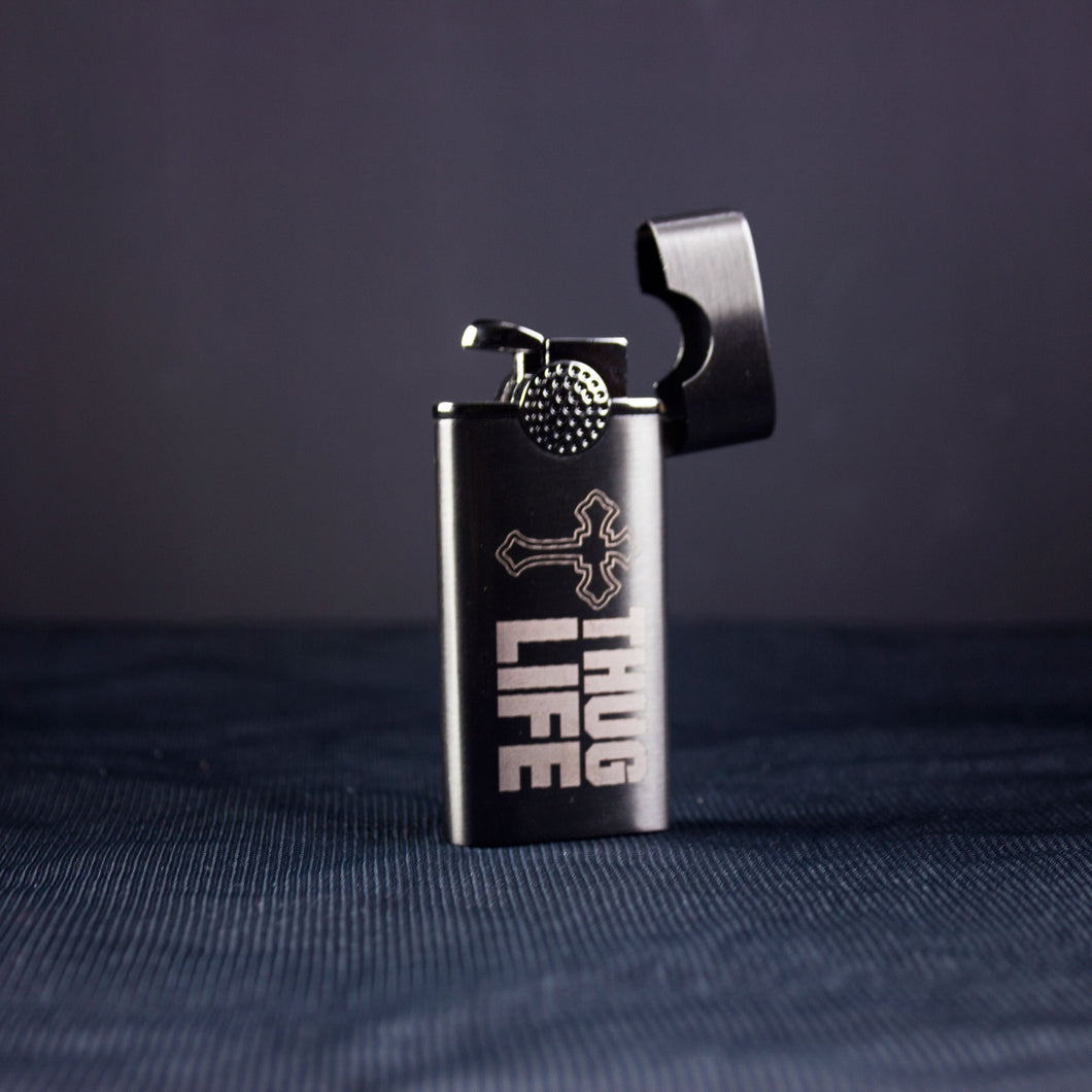 laser engraved personalized black metal lighter