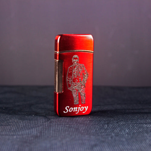 laser engraved personalized red metal lighter