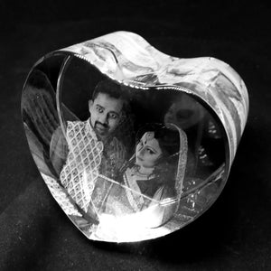 Personalized Heart Shape 3d Photo Crystal - Crystal Moments
