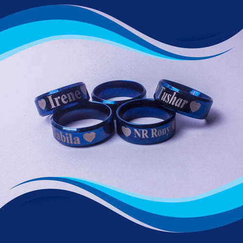 personalized engraved blue exotic finger ring