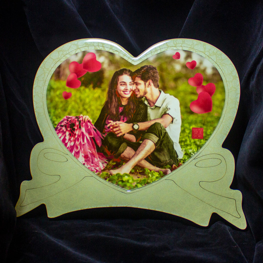 Wooden Heart Shape Color Photo Frame - Crystal Moments