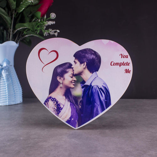 personalized wooden heart shaped color photo frame